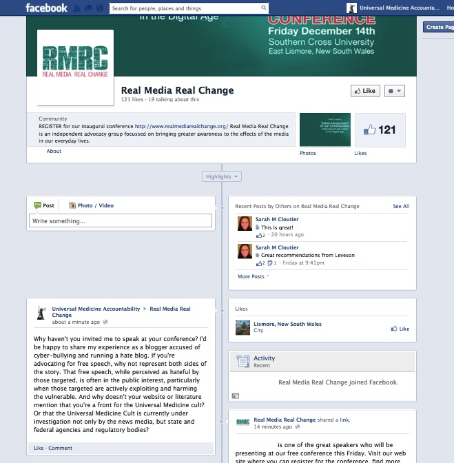 Epic Fail! - The Universal Medicine Propaganda Machine's latest pitch against cyber bullies