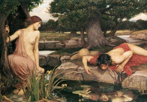 J.W. Waterhouse, Narcissus & Echo, (or six mirrors, single by choice sex bomb)