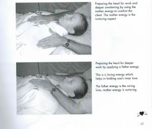Serge Benhayon with his hand a young woman's chest, Sacred Esoteric Healing Advanced Level 1 Workshop manual, p.38