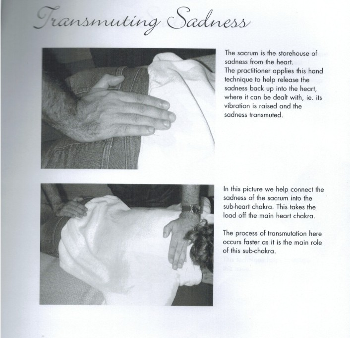 Serge Benhayon with his hand on 14 or 15 year old daughter, Natalie Benhayon's bottom, Sacred Esoteric Healing Advanced Level 1 Workshop manual, p. 53