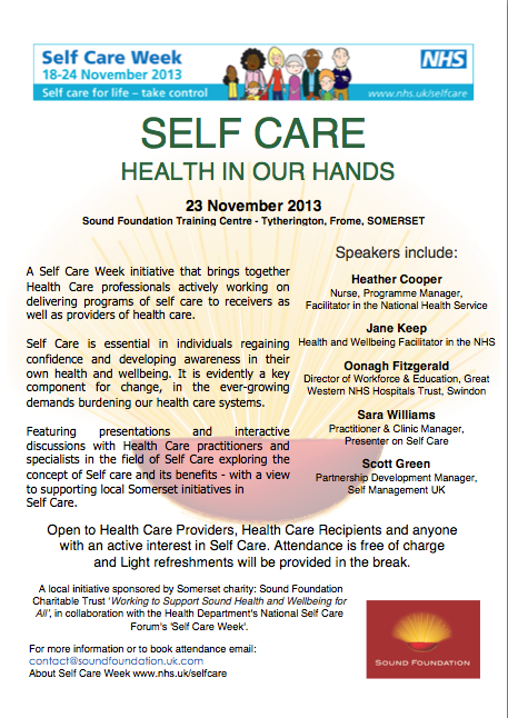Self Care Forum, Health in Our Hands Event Flyer