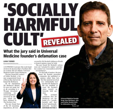 Northern Star headline Serge Benhayon leader Universal Medicine cult