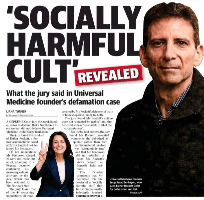 Northern Star headline Serge Benhayon leader Universal Medicine cult